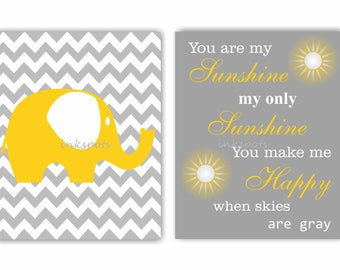 Baby Elephant Wall Art / My Only Sunshine Nursery Art / Safari Nursery Art / You Are My Sunshine Wall Art - Choose Your Colors - EH5834