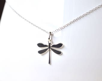 Dragonfly pendant silver necklace