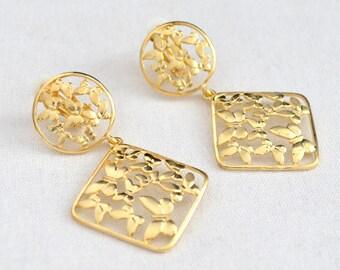 Butterfly filigree clip earrings