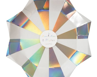 "Starburst Paper Plates (Set of 8) - Meri Meri 9"" Large Party Plates Holographic Silver"