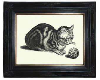 Cat Art Print Geometric Shape Form Polyhedron Steampunk Poster Pet Victorian Engraving Surrealism II