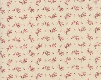 Moda Sweet Blend Cream Off White with Red Birds Laundry Basket Quilts Edyta Sitar 42294-13 BTY