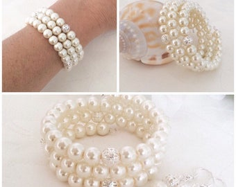 Pearl Bracelet, Bridesmaid Gift, Pearl Jewelry, Bridesmaid Bracelet, Ivory Pearl Bracelet, Wedding