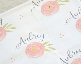 Personalized baby name rose flower swaddle blanket: baby and toddler personalized name newborn hospital gift baby shower gift