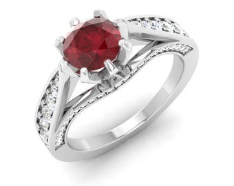 Natural Ruby Ring | Ruby Engagement Ring With SI Diamond | 14K Gold Ring | Diamond Engagement Ring | Certified Ruby | Round Red Ruby