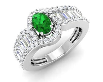 Natural Emerald Ring | Emerald Engagement Ring With SI, VS Diamond 14K Gold | Oval Cut 1.23 Carat | Emerald Halo Ring | Certified Emerald