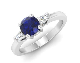 Natural Blue Sapphire Engagement Ring With Diamond In 14K Gold | Three Stone Ring | Blue Sapphire Ring |Sapphire Wedding Ring,Round Sapphire