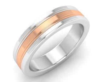 Mens Ring, Mens Two Tone Ring, 14K White Gold Band (5MM),Mens Wedding Band Ring, Mens Engagement Ring,Promise Ring, 5mm wedding ring for men