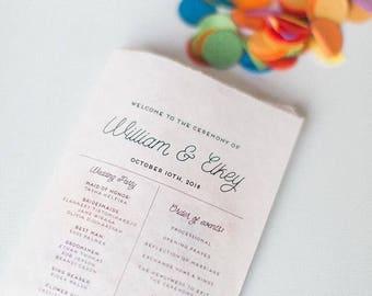 50 Paper Bag Programs - Kraft Wedding Favor - Confetti toss bags