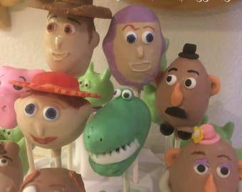 12 TOY STORY themed cake pops, Buzz, Woody, Mr & Mrs. Potato Head, Jessie, Bullseye, Rex, Hamm, and Little Green Men