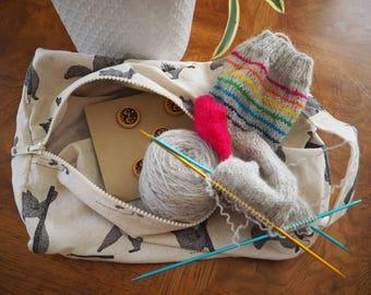 Squirrel Dopp Bag, Knitting Bag