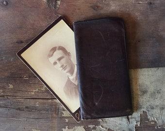 vintage leather chequebook cover / chequebook wallet