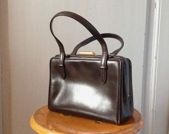 Vintage pattent hand bag, retro hand bag, Rockabilly, brown purse