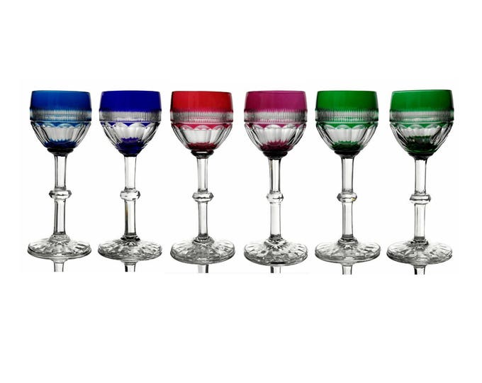 French Saint Louis Crystal Wine Glasses. Set of 6 Coloured Crystal White Wine Glasses.