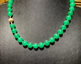 Jade 14K Necklace, Emerald Green Jadeite, Vintage
