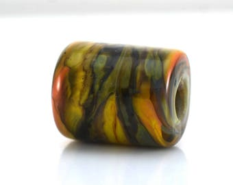 Olive and Apricot Weave Handmade Glass Lampwork Bead