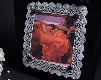 """Black Dupioni Silk Tote Bag Silk Roses """"Flaming June"""" Handmade Bobbin Lace Carnelian Beads"""