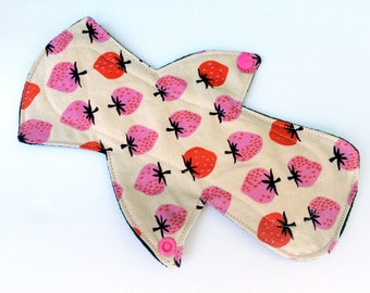 """Lucy & Mabs 9"""" Reusable MODERATE Reusable cloth Pads/Strawberries"""