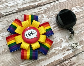 Rainbow Cool Retractable Badge Holder Interchangeable - Nurse Badge Holder - Retractable Badge Reel - Nurse ID Badge Clip- ID Badge Holder