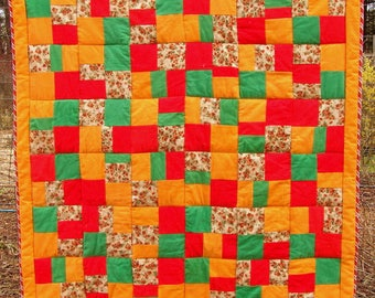 Bright flannel baby quilt