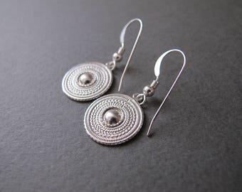 Silver earrings, Dangle earrings, everyday earrings, small earrings, Yemenite earrings, dainty earrings, Israel jewelry, minimalist earrings