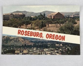 Postcard Roseburg Oregon Color Veterans Hospital City View Plastichrome