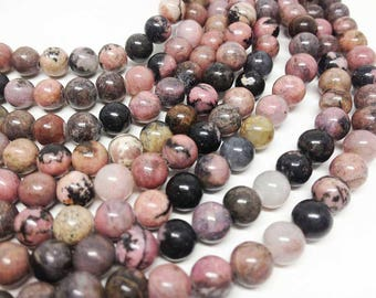 natural 8mm RHODONITE gemstone round beads 10 x