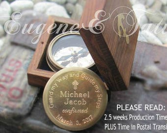 Confirmation Compass for Boys, Boy Confirmation Gifts, Working Compass, Engraved Compass Boyfriend, Engraved Compass Gift, Boys Baptism Gift