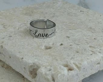 Love ring - handstamped cuff ring. Made to order and comes in small medium and large.