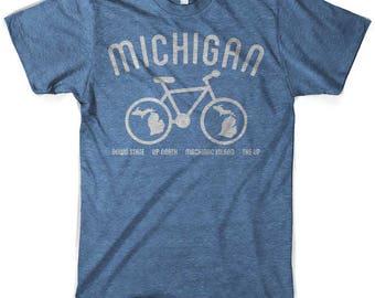 Michigan Bike T-Shirt Heather Lake Blue