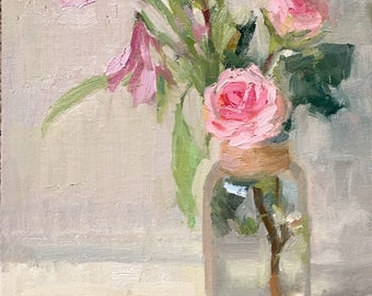Blush and blossom Original small oil painting by Bhavani Krishnan Pink roses in a glass vase still life Wall Decor Small Painting 10x8 in
