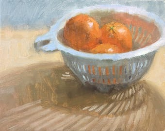 Stripy shadow Original Oil Painting by Bhavani Krishnan Oranges in white colander Fruits still life Kitchen Art Small Daily Painting 8x10