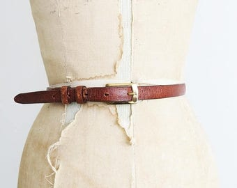 ON SALE Thin Leather Belt // Medium to Large 1970's Belt with Brass Buckle // Women's Vintage Accessory
