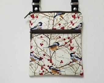 "Birds Crossbody Purse, Small Purse, Travel Purse, Birds Shoulder Purse, Front Zipper Pocket, 68"" Adjustable Shoulder Strap, Nylon Lining."