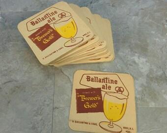 Vintage Ballantine Ale Set of 20 Coasters - New Old Stock - Brewers Gold - Retro Bar, Barware, MCM