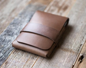 Leather Card Holder Leather Wallet Leather Card Sleeve Leather Card Carrier Leather Card Case Horween Leather Slim Minimalist Mens Womens