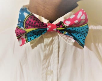 Pink and Blue African Print Clip On Bowtie