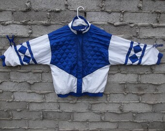 Vintage Jacket Windbreaker 1990s Quilted Color Block Geometric Medium Athletic Sports Fresh Prince Casual Street Chic