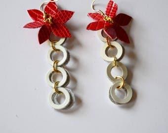 Flower earrings, geometric jewelry, Long leather earrings, Statement earrings, Dangle earrings, White wife jewelry, White gift Christmas