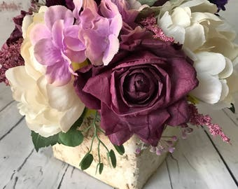 Wedding Centerpiece, Rustic Wedding Centerpiece, Purple Centerpiece, Rustic Silk Centerpiece, Birch Bark Centerpiece, Wedding Arrangement