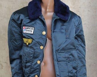 1980s James Dean Bomber Jacket Top Gun Patch  1980s Best Blue Aviator Flight Jacket Hipster Unique Ampco Parking Urban  Worker Jacket  50s