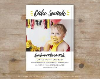 Cake Smash Template - mini session template - photography marketing template - Cake Smash Mini Session Template