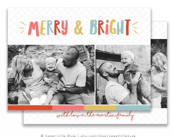 Christmas card template - Holiday card template - Colorful christmas card - Photo Christmas Card Template