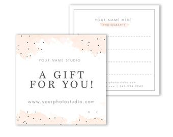 Photography Gift Card Template - Gift Certificate template  - Photography Marketing Template 5x5