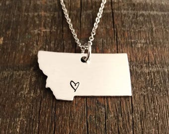Montana State Necklace with heart - Hand Stamped Necklace, Montana Necklace, Heart Montana