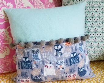 Secret Pocket Tiny Tooth Fairy Pillow, Flannel Owls, Gender Neutral Baby Gift, Gray Pompoms, Gift for Kids, Cover and Insert 12x12 Blue