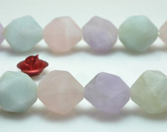 37 Pcs of Natural Mixed chalcedony Faceted and matte nugget beads in 10mm (06872#)