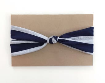 Bandeau à noeud rayures grises et marines - Navy and grey stripes knot headband
