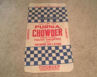 Large Purina Chowder Feed Sack