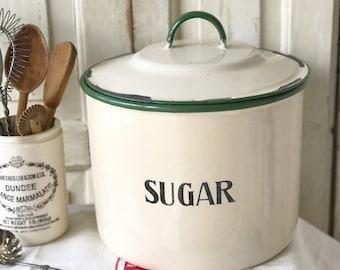 A large vintage enamel ware sugar store